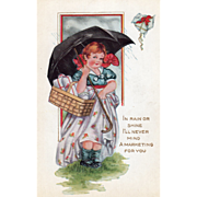 Whitney Little Girl with a Basket of Gifts Umbrella Vintage Valentine Postcard