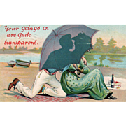 Couple on a Beach Silhouetted against an Umbrella Vintage Valentine Postcard
