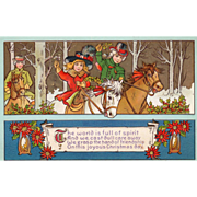 Children Riding Horses through the Woods Poinsettias Vintage Christmas Postcard - Red Tag Sale Item