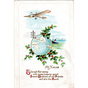 Airplane Ships World Globe Sprigs of Holly Vintage Christmas Postcard