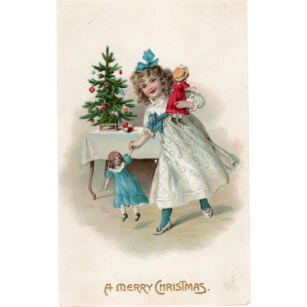 Little Girl With Her New Dolls And Christmas Tree Vintage