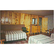 Cabin Interior at Cove Lake State Park Caryville TN Tennessee Vintage Postcard