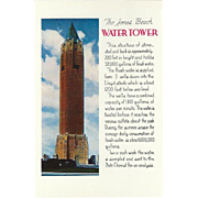The Water Tower Jones Beach Freeport-Wantagh New York Vintage Postcard