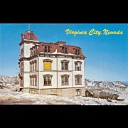 Fourth Ward School Virginia City NV Nevada Vintage Postcard