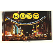 Reno at Night from the Arch Virginia Street Reno NV Nevada Vintage Postcard