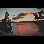 Sunset over Lake Tahoe Lake Tahoe NV Nevada Vintage Postcard