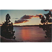 Sunset over Lake Tahoe Lake Tahoe NV Nevada Vintage Postcard