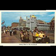 Rollling Chairs on the Boardwalk Atlantic City NJ New Jersey Vintage Postcard