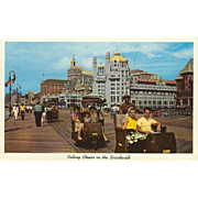 Rollling Chairs on the Boardwalk Atlantic City NJ New Jersey Vintage Postcard