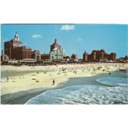 Famous Beach and Skyline Atlantic City NJ New Jersey Vintage Postcard