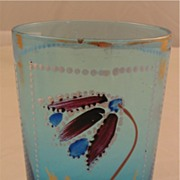 Blue Tumbler with White Beading and Floral Design