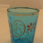 Blue Paneled Tumbler with Enameled Flowers