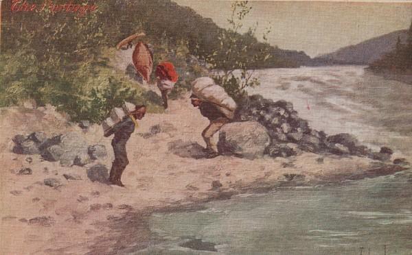Artist Signed John Innes of Men Portaging around a River