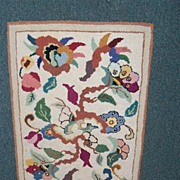 Colorful Small Hooked Floral Rug