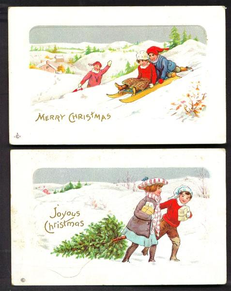 Set of Two Christmas Cards Children Sledding and Children with Christmas Tree