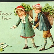 New Year Postcard Children Collecting Shamrocks