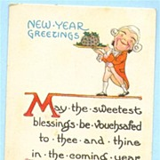 New Year Postcard Man in Colonial Dress Serving Pudding