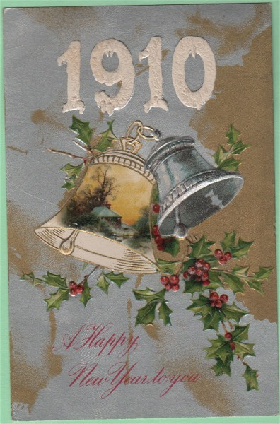 Unmarked John Winsch Postcard 1910 A Happy New Year to You