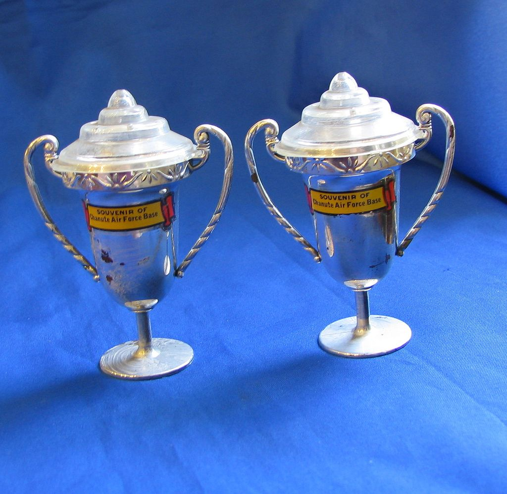 1950s Clear & Silver Loving Cup Salt and Pepper Shakers