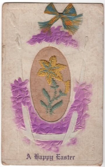A Happy Easter Postcard with Embroidery