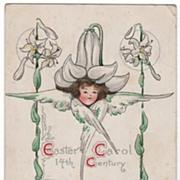 B E Blodgett Easter Postcard Girl with Flower Hat