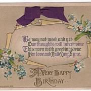 John Winsch A Happy Birthday Postcard Purple Ribbon