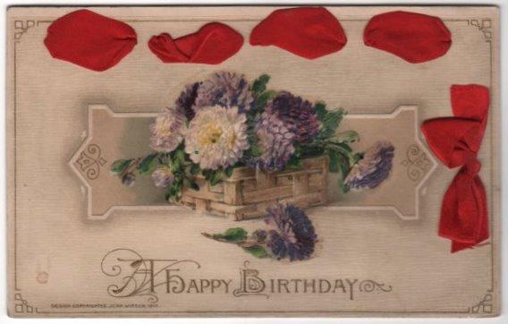 John Winsch A Happy Birthday Postcard Red Ribbon