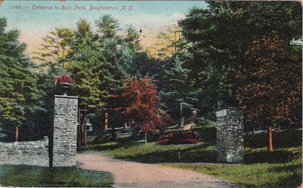 Entrance to Ross Park Binghamton NY New York Postcard