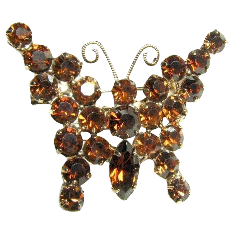 DeLizza & Elster Smokey Topaz Colored Butterfly Pin or Brooch