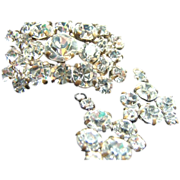 1940s Rhinestone Brooch / Pin & Earrings Demi - Parure
