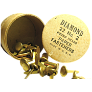Vintage Brass Paper Fasteners by Diamond Original Round Paper Box