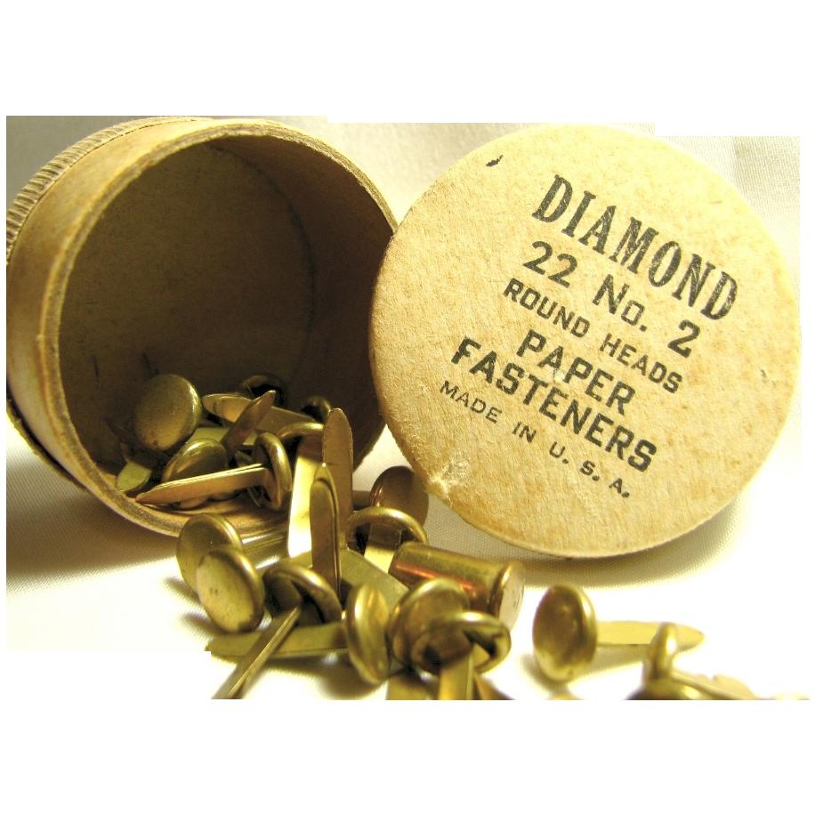 Vintage Brass Paper Fasteners by Diamond Original Round Paper Box