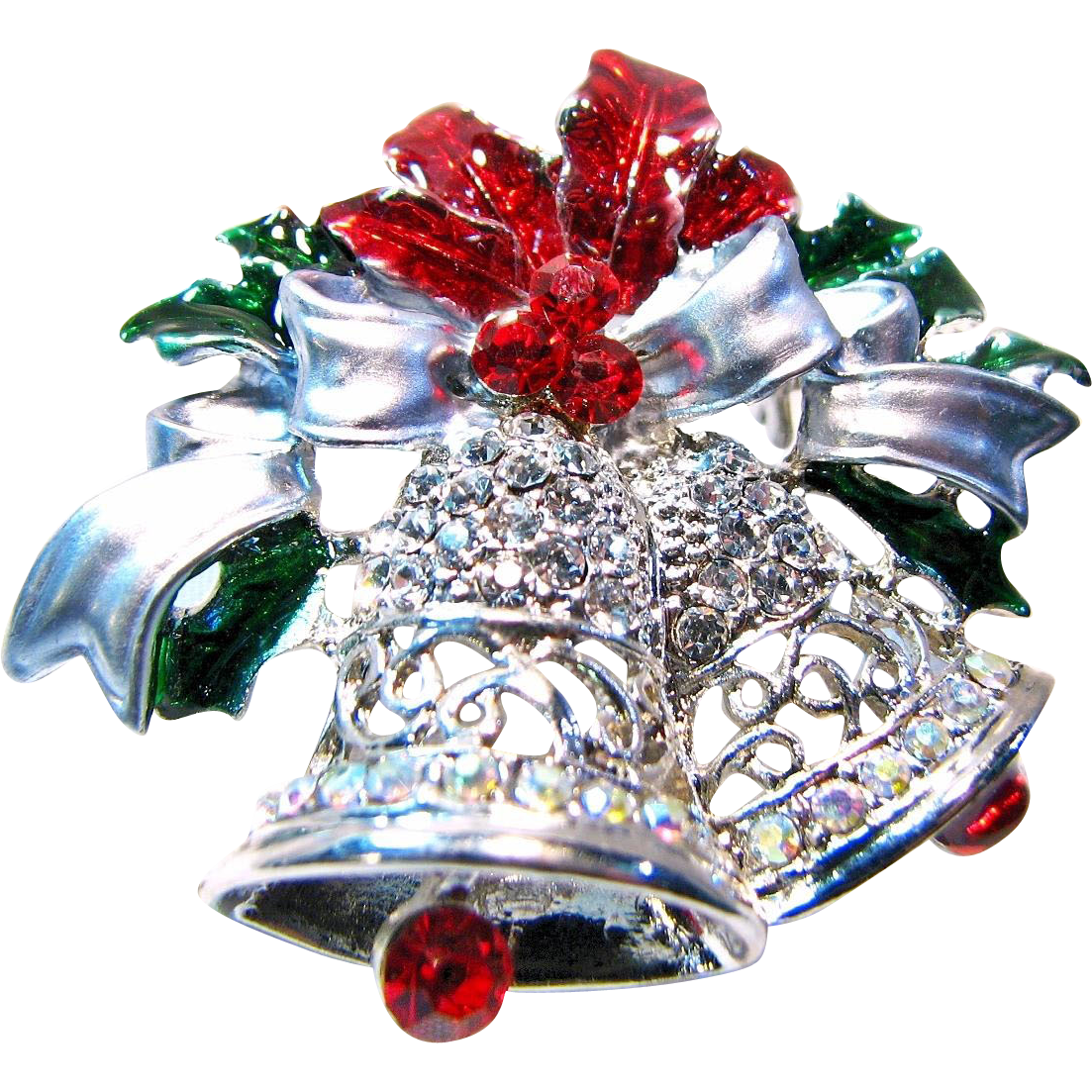 Silver bells christmas pin with articulated clapper sold