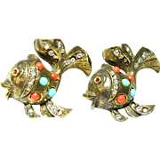 Set of Fanciful Early 60s Goldfish Figural Pins or Brooches