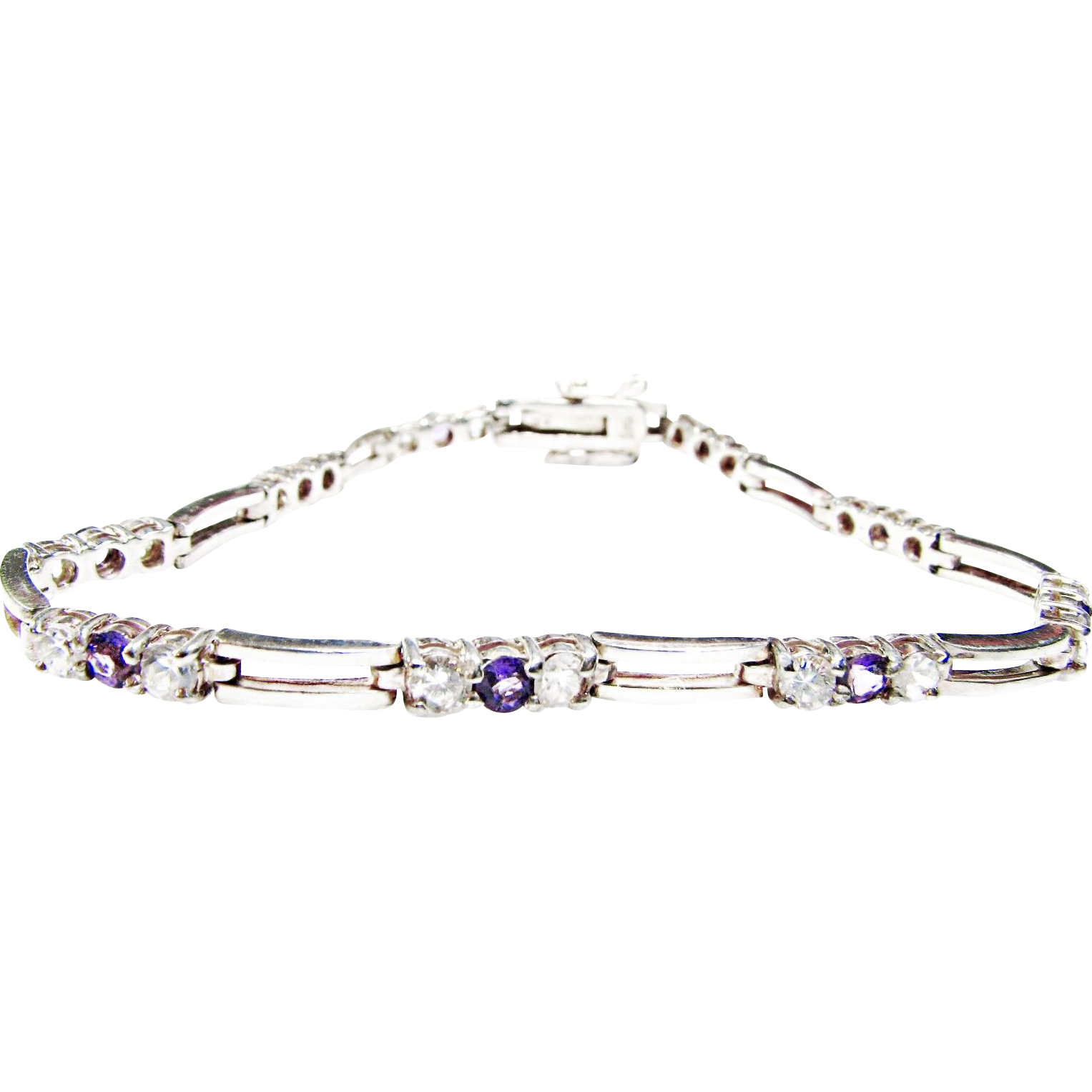 Signed Genuine Sterling and Amethyst Bracelet with Crystal Accents