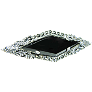 Detailed Sterling Silver Marcasite and Black Onyx Brooch or Pin