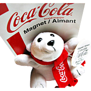 Collectable Official Coca Cola(R) Polar Bear Plush Bean Bag Toy Magnet