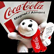 Collectable Official Coca Cola(R) Polar Bear Plush Bean Bag Toy Magnet