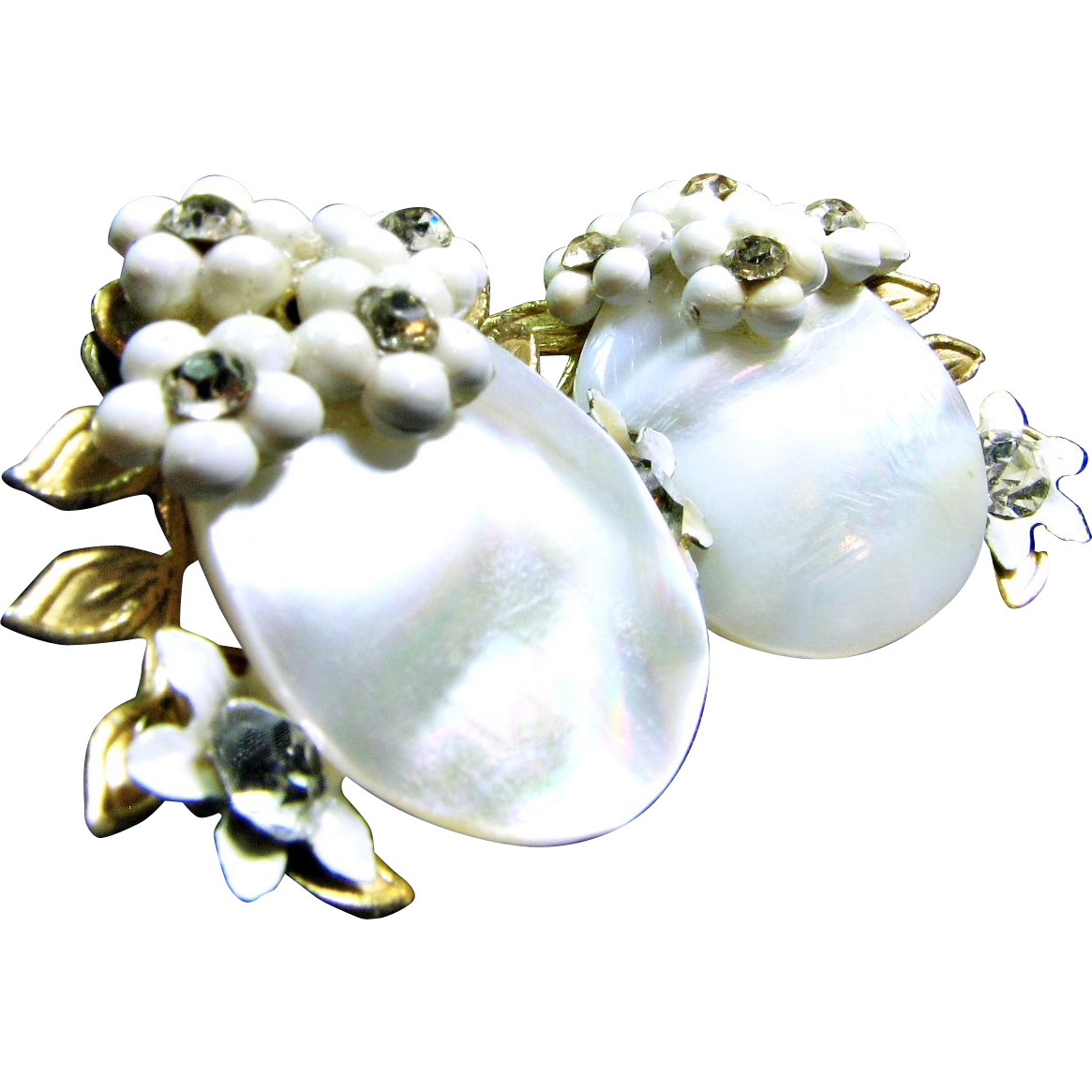 40s Mother of Pearl and Stamped Metal Earrings