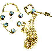 40s 12K Gold Filled Lock N Key Sweetheart Sweater Pin