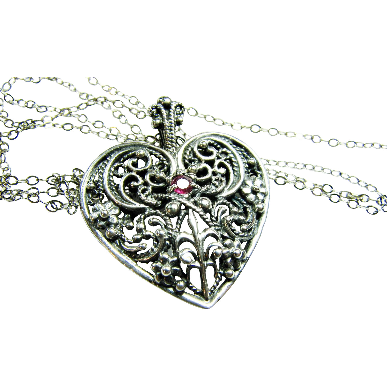 Sterling Silver Filigree Heart Pendant with Red Garnet / 1983 Franklin Mint