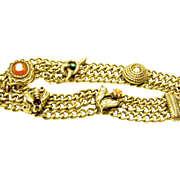 70s Triple Chain Victorian Look Costume Bracelet