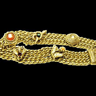 70s Triple Chain Victorian Look Costume Bracelet