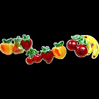 60s Enameled Fruit Pin Trio