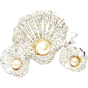 Vintage Bellini Rhinestone and Rhodium (plated) Seashell Brooch and Earrings