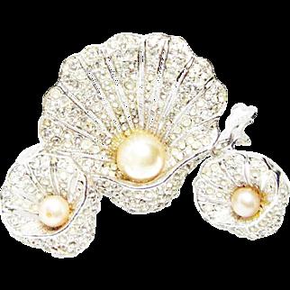 Vintage Bellini Rhinestone and Rhodium (plated) Seashell Brooch and Earrings