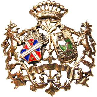 Vintage European  Heraldic Costume Brooch / Pendant