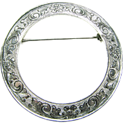 Hand Chased Sterling Pin from Baltimore Silversmith S Kirk and Son C.1932-1979