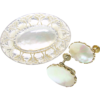 Vintage Hawaiian Mother-Of-Pearl Hand Carved Broach and Earrings