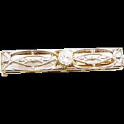 Frank Krementz Art Deco 14K Yellow and White Gold filigree Diamond  Pin